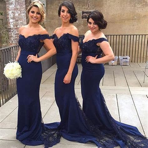 Best Selling Navy Blue Bridesmaid Dresses 2016 Lace Off