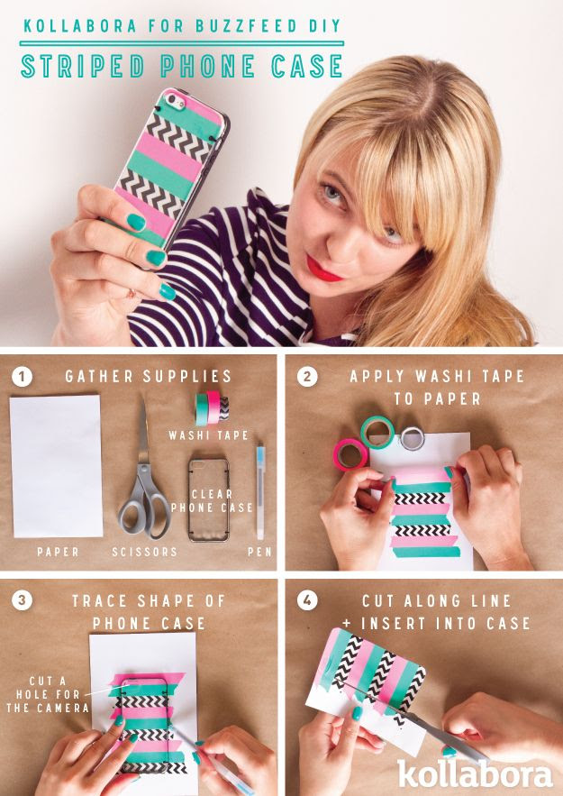 Striped Phone Case DIY With Washitapa