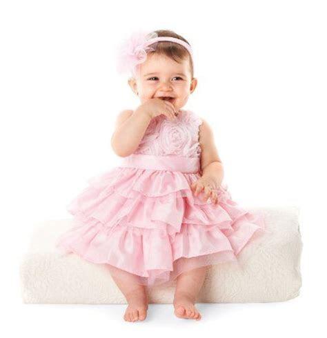 Mud Pie Baby Girls Newborn Rosette Layered Dress, Pink, 0