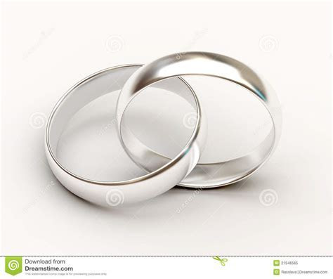 Platinum Wedding Rings On White Background Royalty Free
