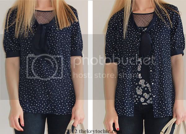 Jason Wu for Target navy dot tie blouse, Jason Wu for Target sheer panel floral top