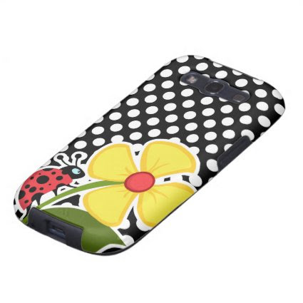 Ladybug on Black and White Polka Dots Galaxy SIII Cases