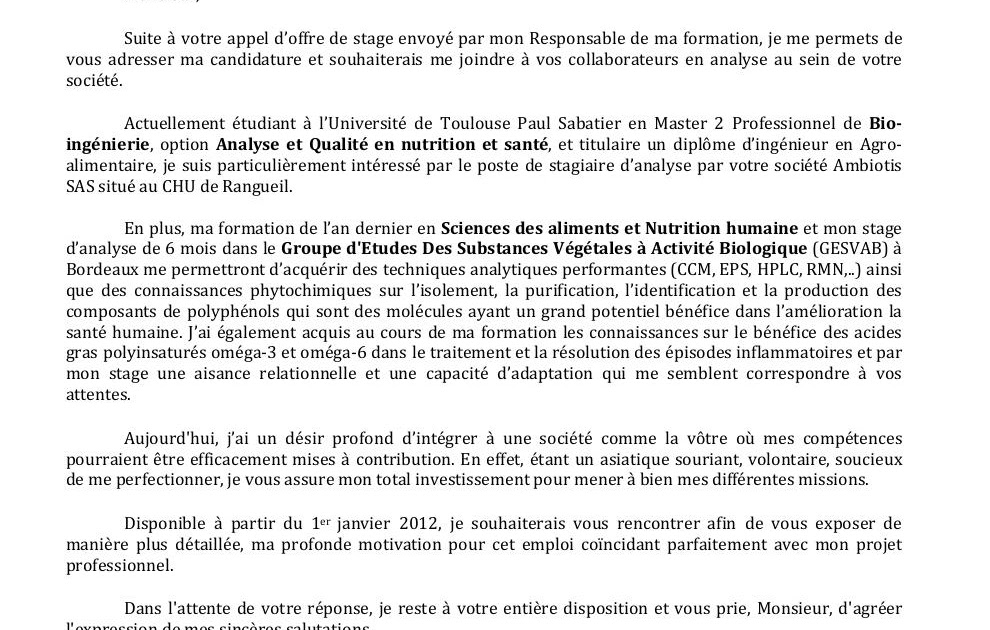 Lettre De Motivation Stage: Lettre De Motivation Licence Chimie