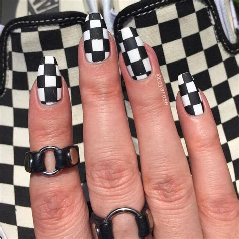 checkered nails ideas  pinterest racing nails