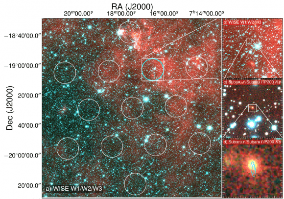 image shows the field of view of the Parkes radio telescope on the left. On the right are successive zoom-ins in on the area where the signal came from (cyan circular region).. Credit: D. Kaplan (UWM), E. F. Keane (SKAO).
