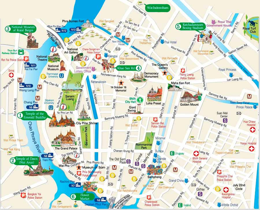 Detail Bangkok Thailand Travel map for Tourists,Travel map of Bangkok Thailand,things to do in bangkok,bangkok attractions map,Siam Ocean World in Siam Square, Lumphini Park in Silom, Santichaiprakarn Park, King Prajadhipok Museum, Museum of Siam, Siam Square, Dusit Palace, Wat Ratchanaddaram, Wat Suthat, Golden Mount, Wat Phra Kaew, Wat Arun, Wat Pho, the Grand Palace, the island of Rattanakosin