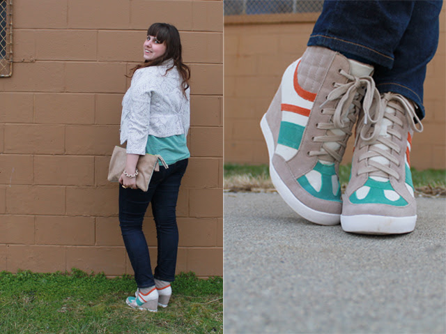 Hello Sneaks outfit: BC Footwear sneaker wedges from Urban Outfitters, Pilcro jeans from Anthropologie, striped t-shirt, brocade blazer, sparkly suede clutch