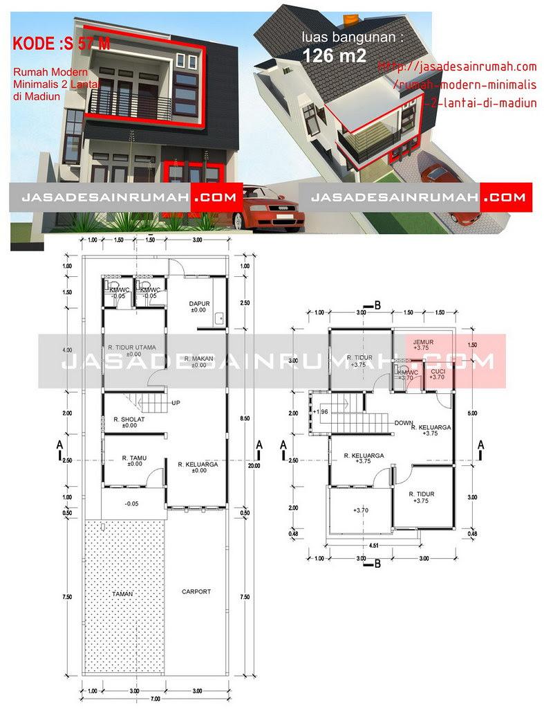 Rumah Modern Minimalis 2 Lantai Di Madiun Jasa Desain Rumah