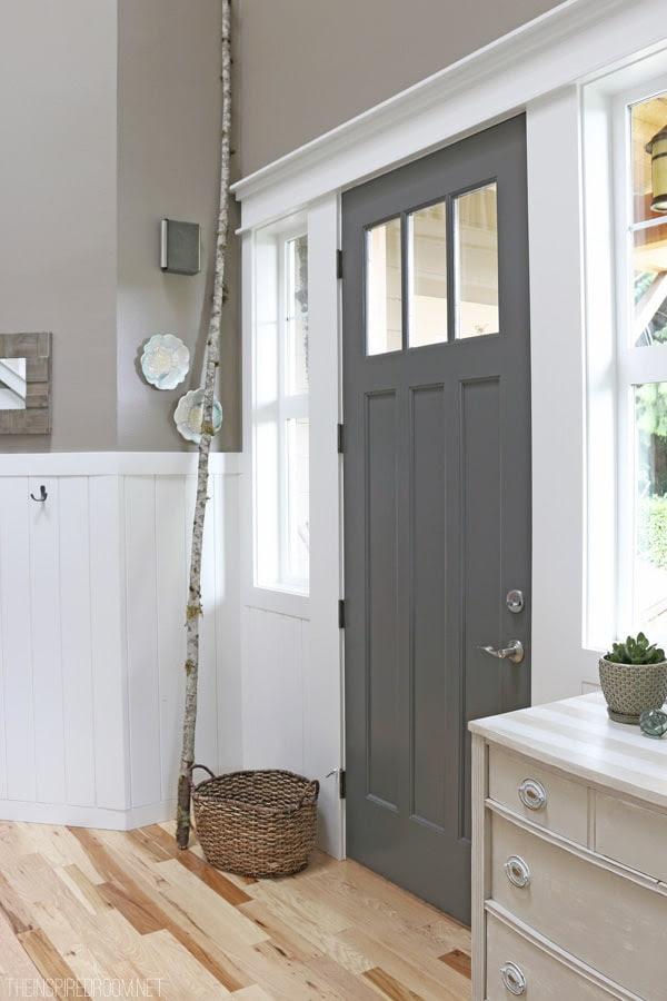 gray interior painted door