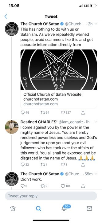 Nigerian Man Rebukes Church Of Satan On Twitter. The Church Fires Back (SEE SNAPSHOTS)