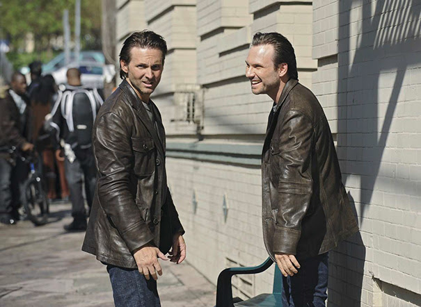 Christian Slater And His Stunt Double Marc Shaffer On The Set Of The Forgotten