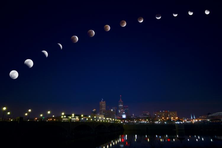 Different stages of Total Lunar Eclipse over Indianapolis, United States in February 2008.