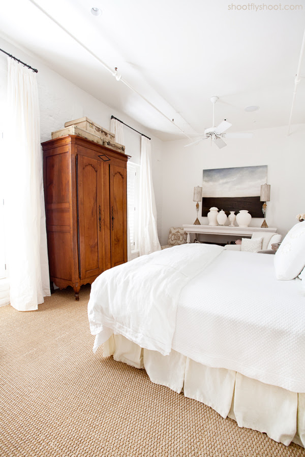 Atchison Home | White Bedroom | Antique Armoire