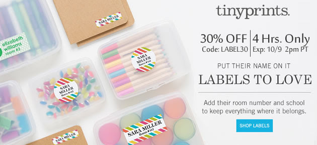 30% Off Name Labels