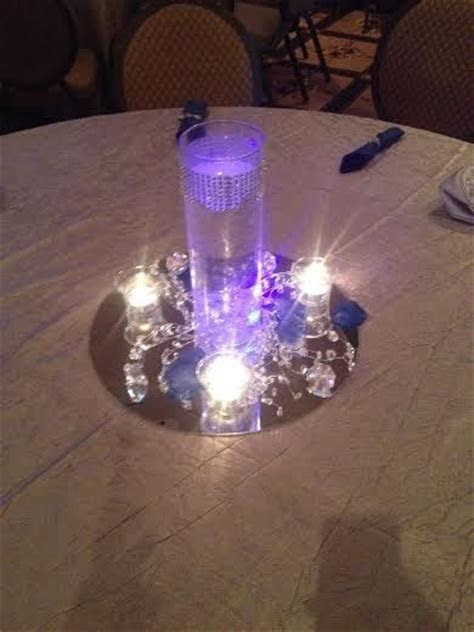 royal blue and silver centerpieces   Engagement Parties