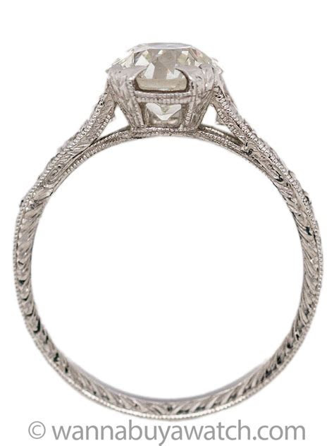 Hand Engraved Edwardian Style Engagement Ring Platinum 1