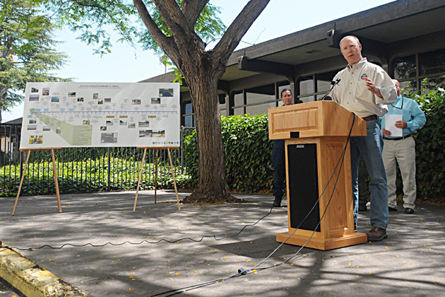 <p>Bret Moxley of the Environmental Protection Agency speaks at a news conference Wednesday in front of a timeline outlining response of the Refugio Oil Spill. Officials could not give more details on the hours surrounding the spill, but a letter from Plains CEO Greg Armstrong to lawmakers published Wednesday afternoon included more details.<br /></p>