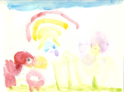 Dova watercolor bird rainbow and flower
