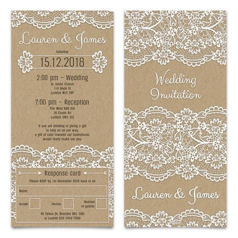 Wedding Invitation Cards   Kraft Paper with RSVP Tear Off