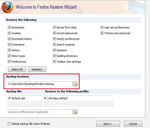 Select the Backup File to restore