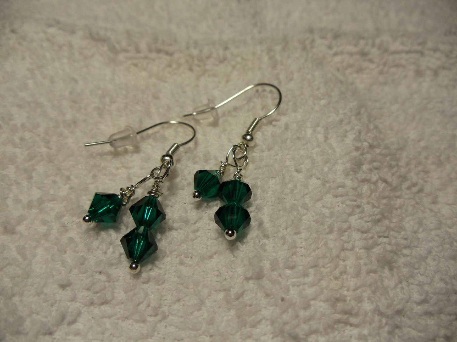 Green czech bicones Crystal Earrings, Silver Ear Wires, Dangle - TamarasJewelry2