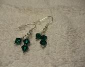 Green czech bicones Crystal Earrings, Silver Ear Wires, Dangle - TamarasJewelry2