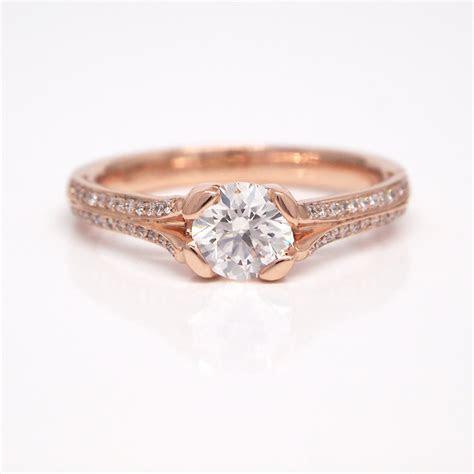 18K White and Rose Gold Diamond Bridal Ring   Judith