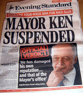 Mayor Ken Livingstone Suspended