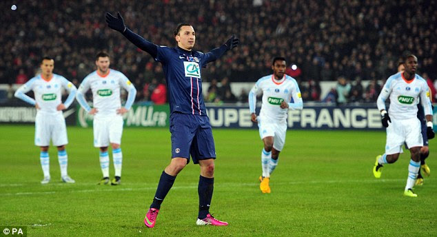 Over and out: Ibrahimovic confirmed the win for PSG with a second-half penalty