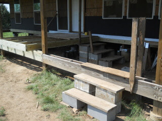 Temporary Porch with Stairs Over Beams