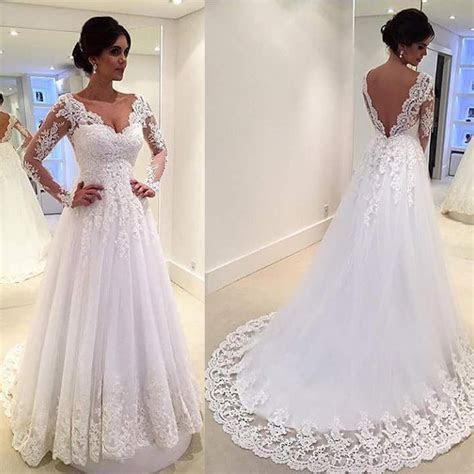 White Vintage Wedding Gowns Lace Long Sleeve Open Back A