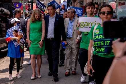 Garcia and Yang campaign together for a second straight day.