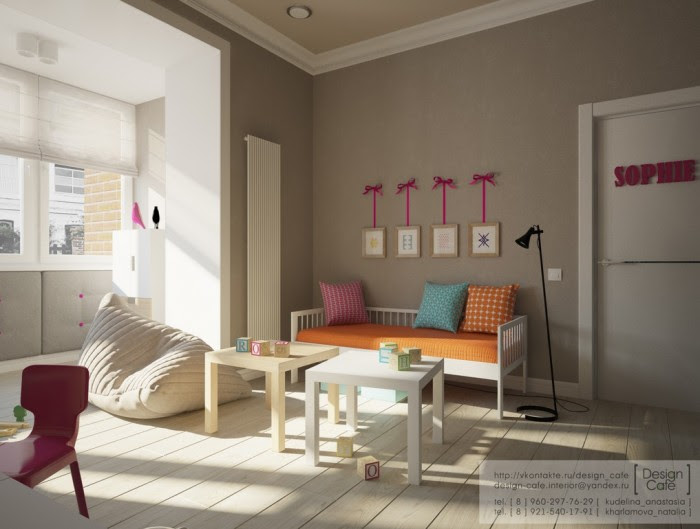 The colors in the child's bedroom were kept neutral so they could be adaptable to a boy or girl.