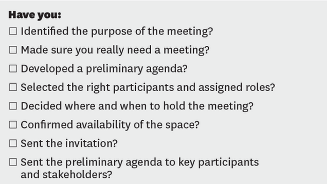 This Checklist Makes Sure Your Next Meeting is Productive One