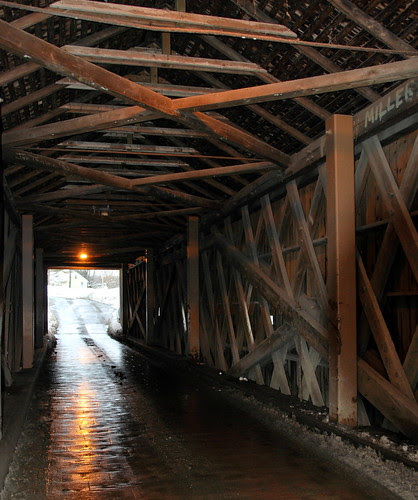 Inside of Bulls Bridge Covered Bridge