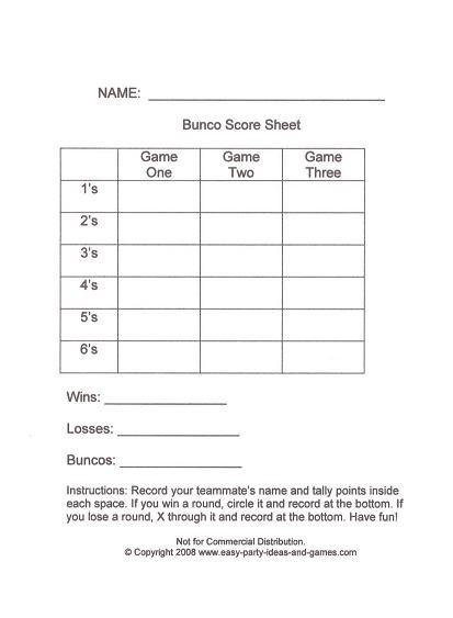Seng nduwe ngamuk bunco score sheets for Bridge tally template