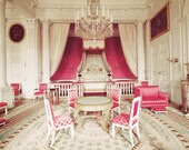 Paris Photo. Fine Art Photography. Versailles Princess Room. Marie Antoinette. Fuchsia Pink White Gold. Rococo. Nursery Art. Size 8x10""