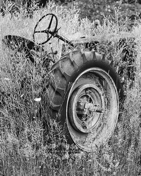 Rustic Farmhouse Decor , Tractor Photograph , Black and