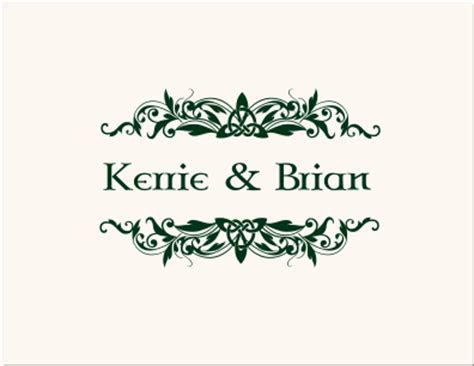 Celtic Themed Favor Cards & Thank You Cards  Wedding