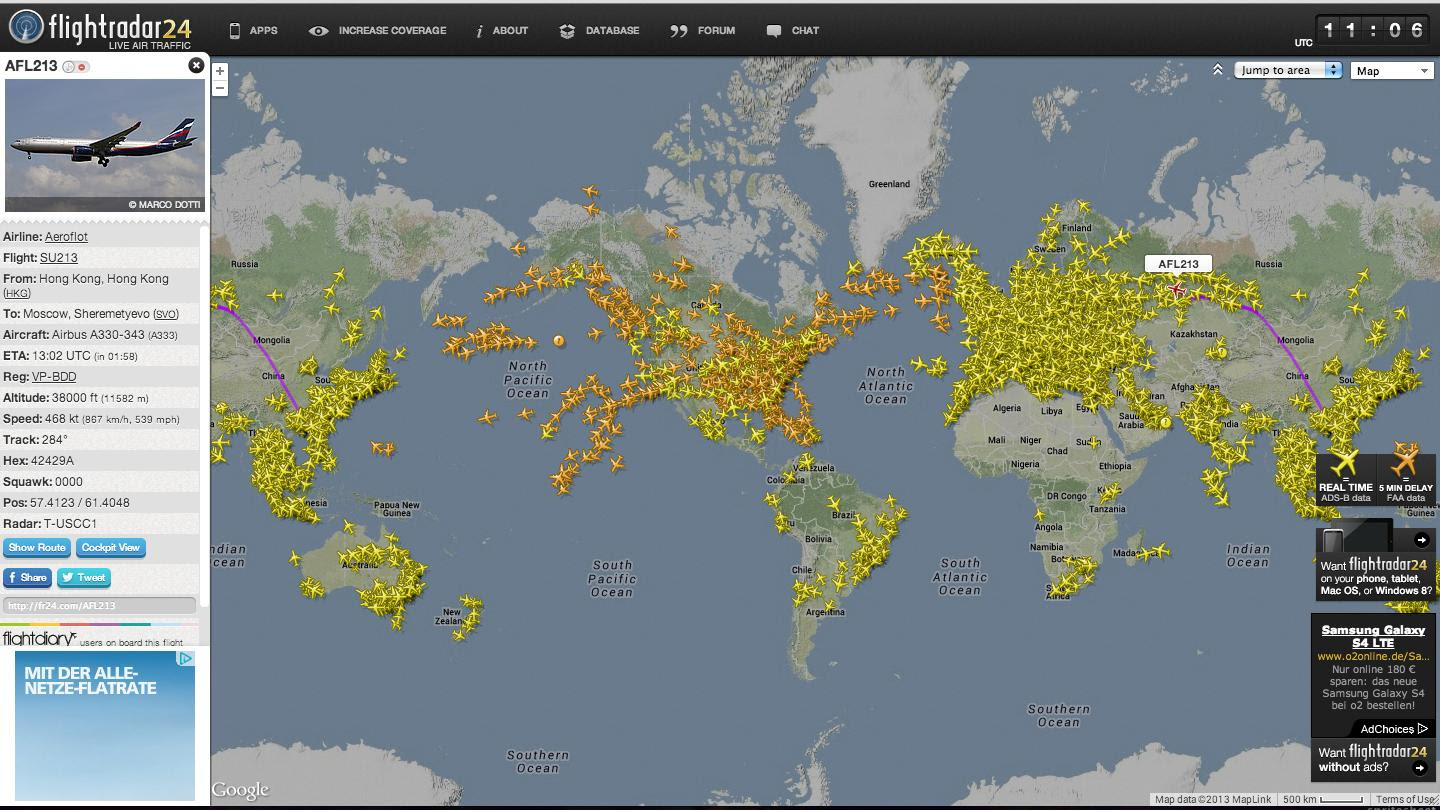 This is a real time map of current flights in the world ...