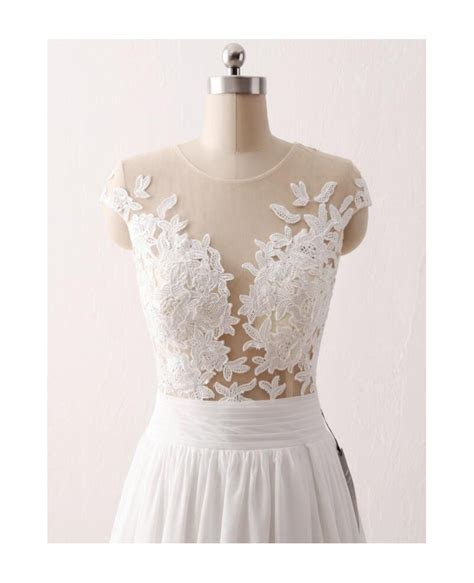 Cheap Slit Chiffon Wedding Dress For Older Brides With