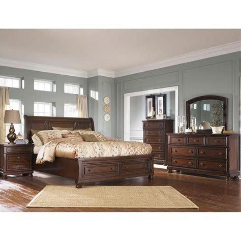 porter  piece king bedroom set  burnished brown