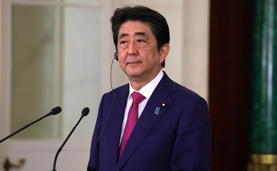 Press statements following Russian-Japanese talks. Prime Minister of Japan Shinzo Abe.