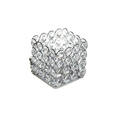 Crystal Square Candle Holder   Glass Candle Holder