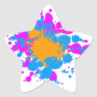 Corey Tiger 80s Splatter Paint Star Sticker