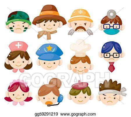 vector art cartoon people job face icons clipart