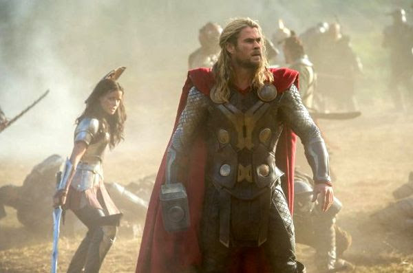 Thor and his fellow Asgardians do battle in THOR: THE DARK WORLD.