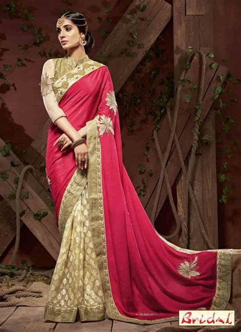Pink and golden designer saree for wedding ? FashionEven