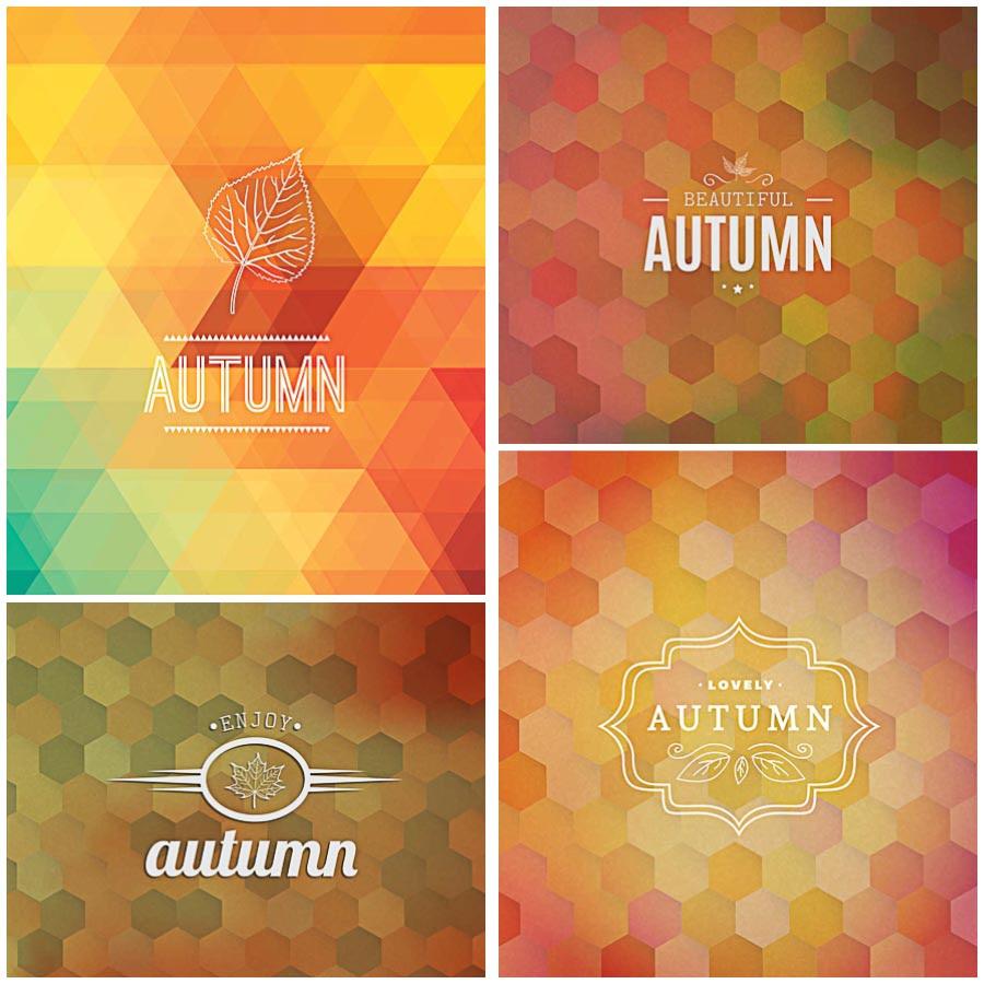 Autumn backgrounds hexagons set vector