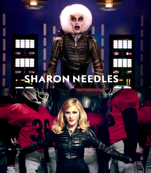 "WHO WORE IT BEST? Sharon Needles or Madonna in her ""Give Me All Your Luvin'"" Video? (Yup, it's the same top.)"